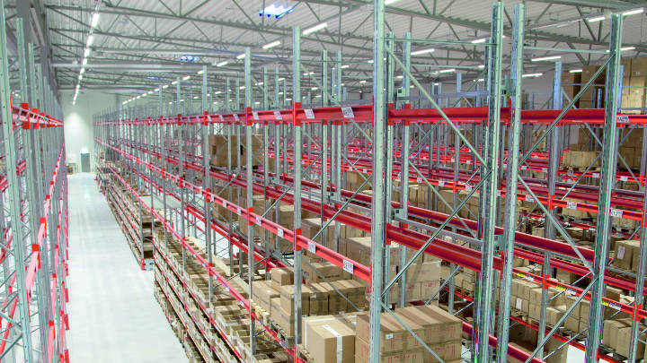 Warehouse of Hisab Joker company illuminated by Philips industrial lighting solutions