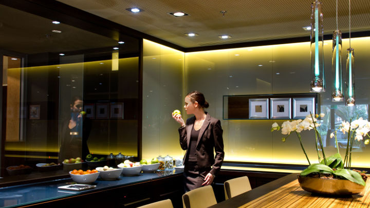 Philips spotlight lighting in the meeting rooms helps to revitalize the Marriott Hotel Frankfurt's