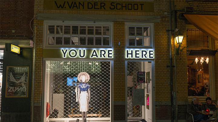 Enlightend shop window of the you are here fashion store